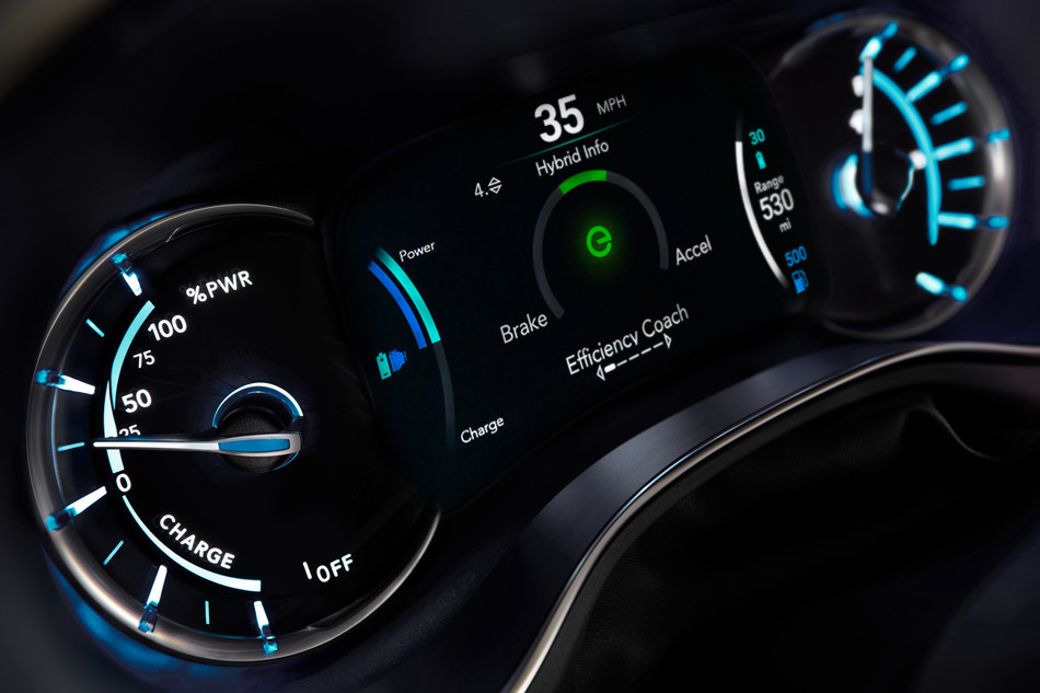 """The all-new 2017 Chrysler Pacifica Hybrid offers technology features to help drivers maximize efficiency, including a  unique 7-inch full-color driver information display that delivers important information at a glance. The customizable cluster's display changes color to indicate whether the Pacifica is operating in electric mode (teal) or hybrid mode (blue), while the battery level, fuel level and ranges (battery, fuel and total) are displayed. One of the available displays is an """"efficiency coach,"""" which guides owners to drive more efficiently and maximize the time spent in battery mode."""
