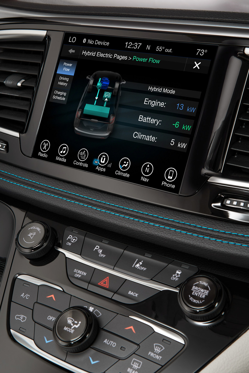 The all-new 2017 Chrysler Pacifica Hybrid offers technology features to help drivers maximize efficiency, including the Uconnect 8.4 system with the new Hybrid Electric Pages. The Hybrid Electric Pages offer several different screens for drivers, including a power flow screen, which provides a dynamic illustration showing how/where power is flowing within the vehicle. Other screens include a driving history screen, which displays a chart showing the distance driven by day in electric mode and hybrid mode, and a charge scheduling screen, which allows owners to schedule the Pacifica Hybrid's charging times to make the most of off-peak rates.