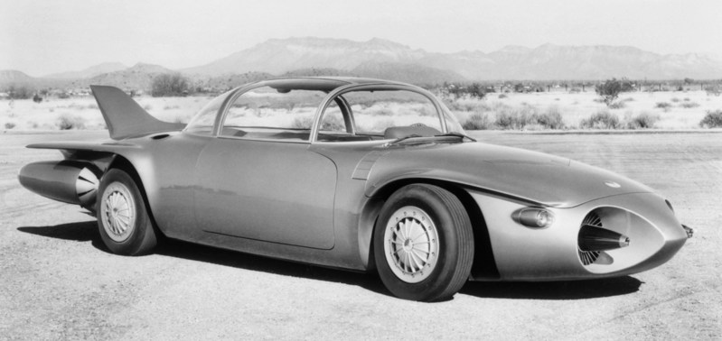 The 1956 Firebird II concept car was one of the industry's first vehicle concepts that explored automated driving.  The concept had an electronic brain that connected to a future highway called the Safety Autoway, which was equipped with metallic conductor embedded in the roadway.   The conductor would allow the car to drive in automated mode.