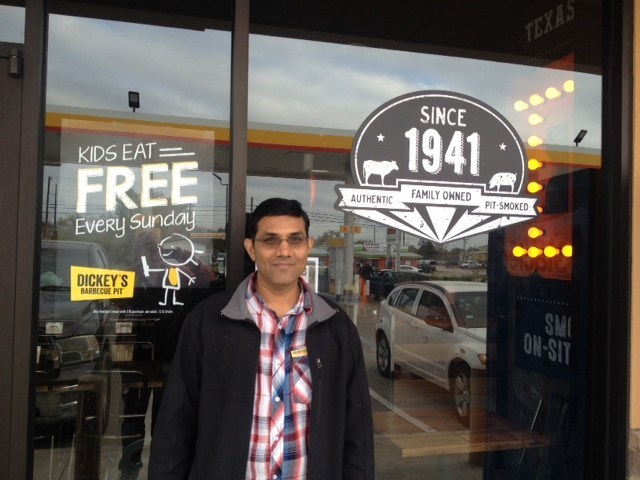 Nadirali Momin opens his first Dickey's Barbecue Pit location in Navasota, TX.