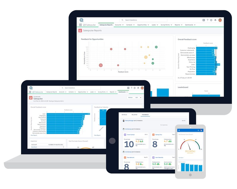 Real-time insight. Any device. A native Salesforce(TM) app, QB Salespulse provides integrated real-time insight for sales executives, enabling them to proactively strategize, manage, and optimize their sales team and pipeline.