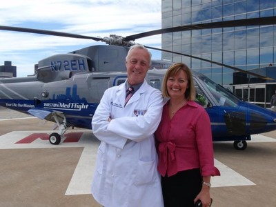 Partnering with the Association of Air Medical Services (AAMS), Sikorsky presented a $5,000 donation to the MedEvac International Foundation for the first annual Dr. Suzanne Wedel Scholarship award to celebrate her legacy. Dr. Suzanne Wedel followed her husband, Dr. Alasdair Conn (also pictured), as chief executive of Boston MedFlight. She is credited with expanding the scope of the air ambulance service. [Photo credit: Maura Hughes/Boston MedFlight]