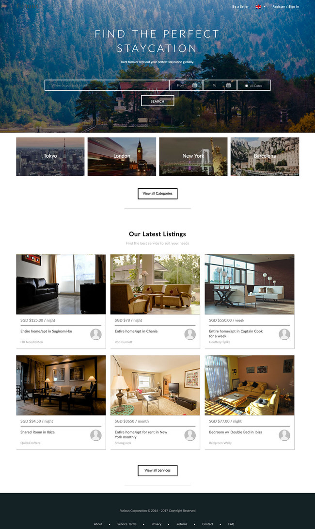 An online marketplace for space rental built with Arcadier Marketplaces