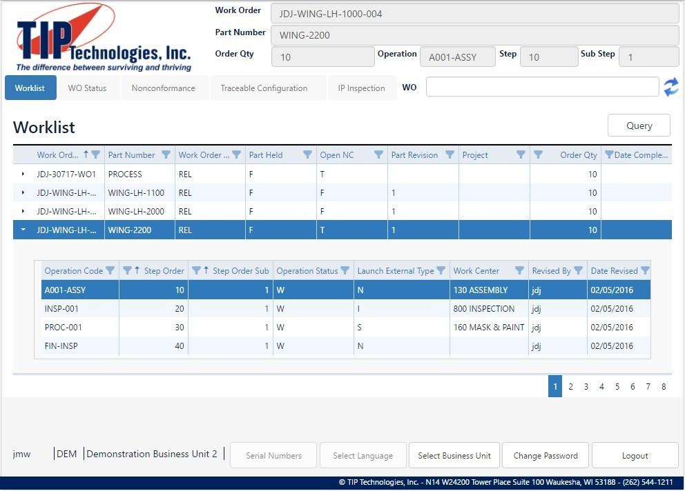 TIPSFS Worklist Screen Shot