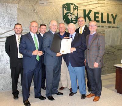 (L-R) Senior Business Development Representative, Tim Murphy, CEO, Frank Kelly III, Managing Director, Greg Derwart, Secretary Mike Gill, Senator Francis X. Kelly, Maryland Congressman Andy Harris and John Kelly
