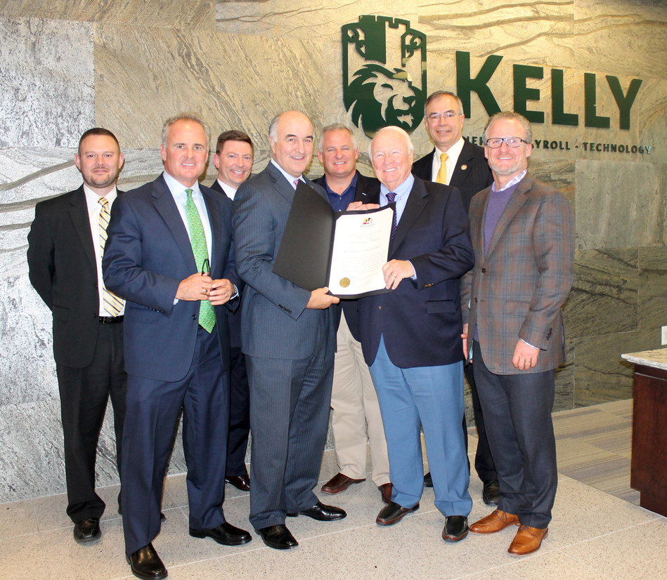 (L-R) Senior Business Development Representative, Tim Murphy, CEO, Frank Kelly III, Managing Director, Greg Derwart, Secretary Mike Gill, Senator Francis X. Kelly, Maryland Congressman Andy Harris and John Kelly