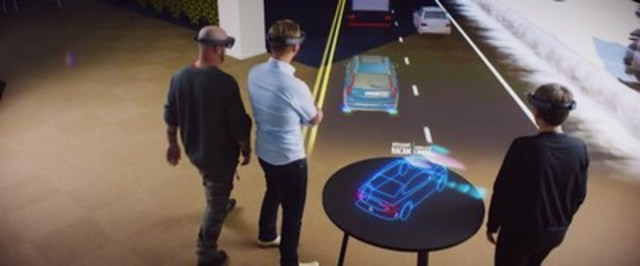 At Magna's CES booth (#5936, North Hall LVCC), attendees will use Microsoft's HoloLens mixed-reality technology to personally experience the car of the future. The self-contained, holographic computer allows attendees to experience unique future vehicle technology. (CNW Group/Magna International Inc.)