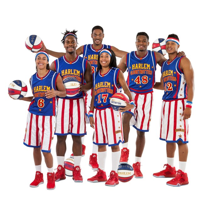 The Harlem Globetrotters announce their 2017 rookie class. (L-R) Hoops Green (6), Beast Douglas (23), Jumpin Joe Ballard (38), Swish Young (17), Clutch Ball (48), Jet Rivers (32)