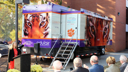 Dr. Paula Watt of the Joseph F. Sullivan Center at Clemson University launches their groundbreaking Odulair 100-Percent Solar Powered Mobile Health Clinic