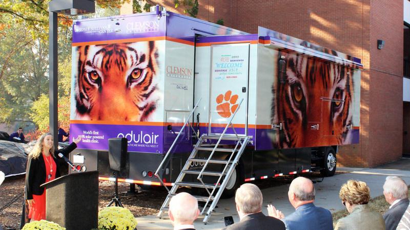 Dr. Paula Watt of the Joseph F. Sullivan Center at Clemson University launches their groundbreaking Odulair 100-Percent Solar Powered Mobile Health Clinic