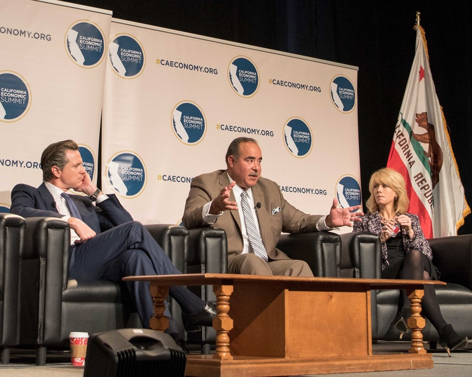 California Lt. Gov. Gavin Newsom, Paul Granillo, president and CEO of the Inland Empire Economic Partnership, and Fresno Mayor Ashley Swearengin address attendees at the 5th California Economic Summit held in Sacramento on Dec. 13 and 14, 2016.
