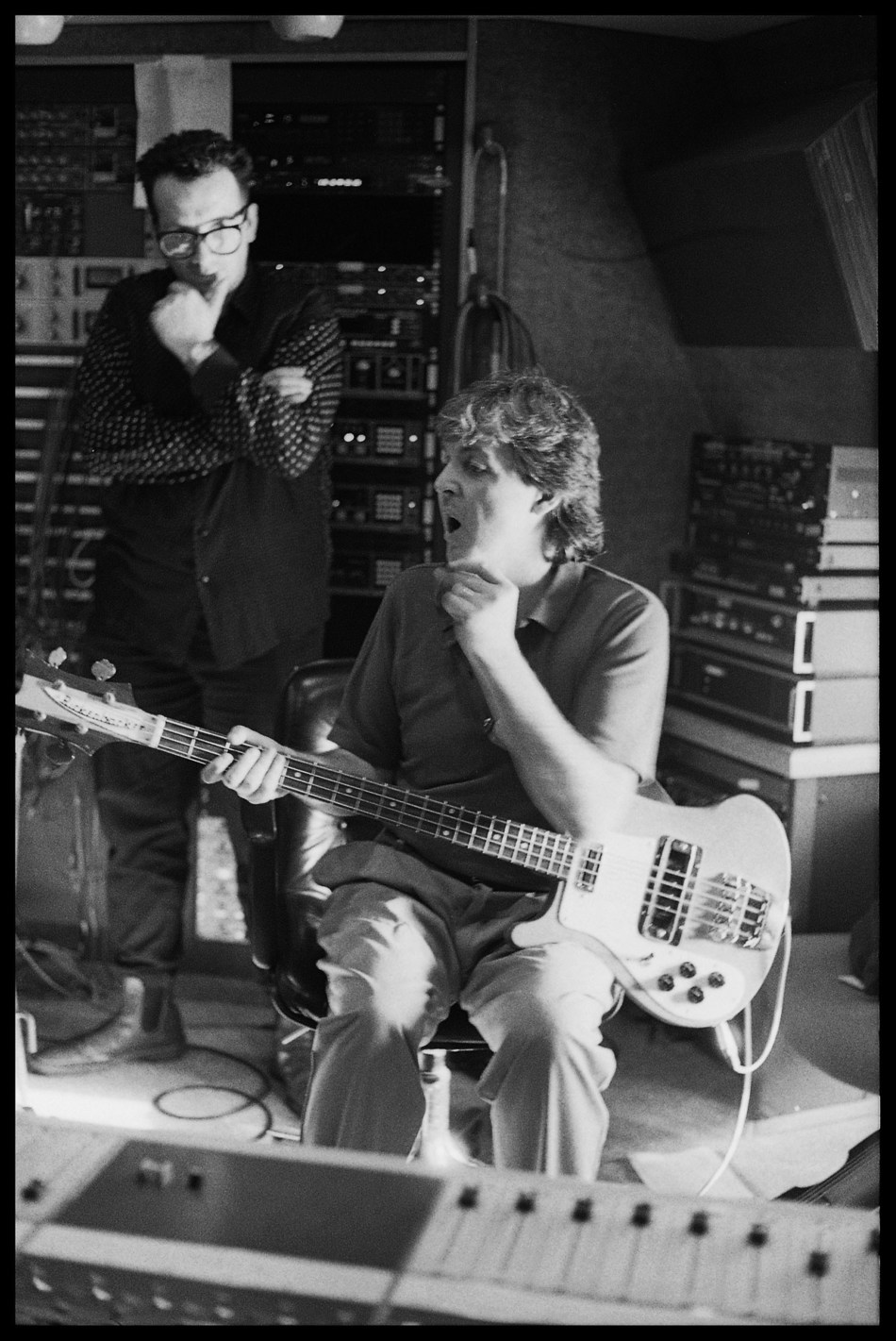 Paul McCartney and Elvis Costello, 'Flowers In The Dirt' recording sessions, 1988. Photo credit: 1988 (C) Paul McCartney / Photo by Linda McCartney.
