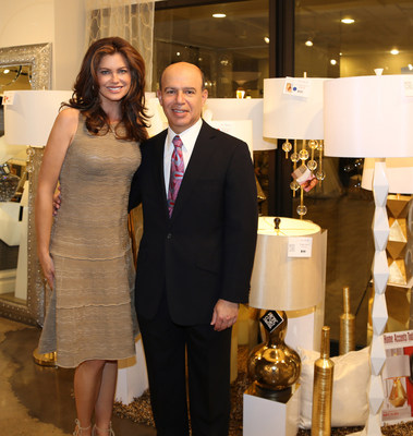 Kathy Ireland, Chair, CEO and Chief Designer of kathy ireland(R) Worldwide with Clark Linstone, President of Pacific Coast Lighting.