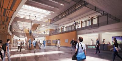 Rendering of the central atrium at CSE2, University of Washington. Image courtesy of LMN Architects.