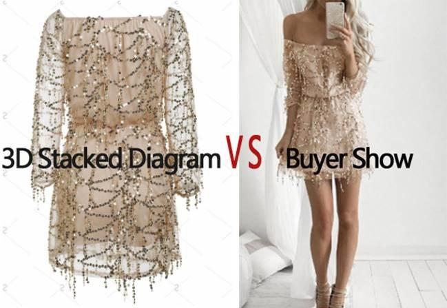 Sammydress 3D Stacked Diagram VS Buyer Show