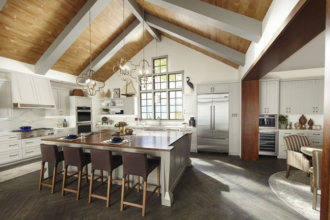 According to members of the Jenn-Air Design Advisory Council, some of the latest kitchen design trends include functional items like kitchen islands designed to look more like furniture pieces and open shelving for displaying favorite items.