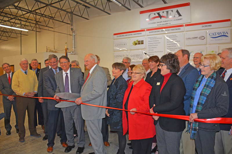 Ribbon cutting with industry sponsors at Catawba Valley Community College, Furniture Academy on Dec. 8, 2016.