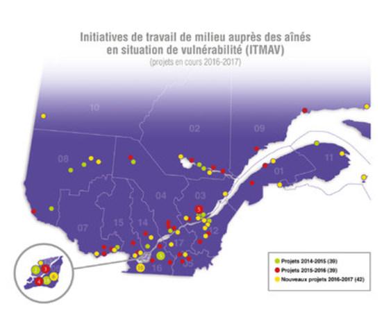 Carte des projets en cours (Groupe CNW/Cabinet de la ministre responsable des Aînés et de la Lutte contre l'intimidation)