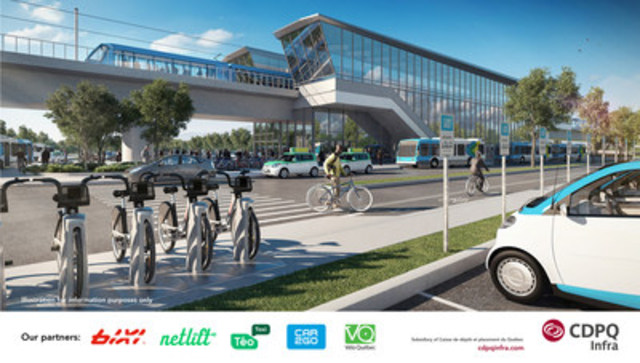 CDPQ Infra announces agreements with BIXI, Netlift, Téo Taxi, car2go and Vélo Québec. New partnerships will increase transportation options for users going to and from REM stations in addition to bus service. (CNW Group/CDPQ Infra Inc.)