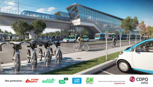 CDPQ Infra annonce des ententes avec BIXI, Netlift, Téo Taxi, car2go et Vélo Québec. Ces nouveaux partenaires s'ajouteront aux services d'autobus pour multiplier les options d'accès aux stations pour les usagers. (Groupe CNW/CDPQ Infra Inc.)
