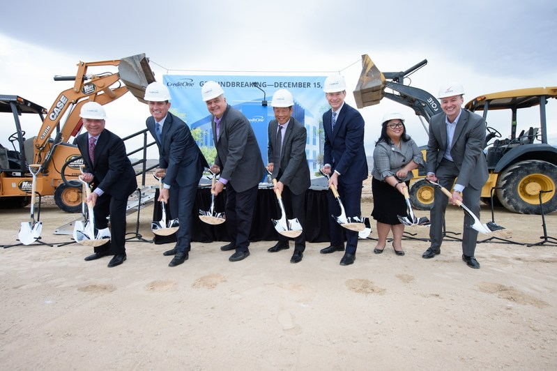 Credit One Bank Director John Andross; CEO & President Robert DeJong; Clark County Commission Chair Steve Sisolak; Credit One Bank Senior Executive Vice President & Chief Administrative Officer Berkman Hong; Senior Executive Vice President & Chief Marketing Officer Sam Dommer; Las Vegas Office Manager for Governor Brian Sandoval, Annalyn Bo Carrillo; and Burke Construction Group President & CEO Kevin Burke