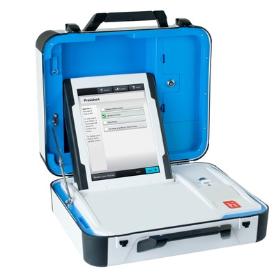 The new Verity Voting system from Hart InterCivic is compact, lightweight and easy for election workers to carry and set up.