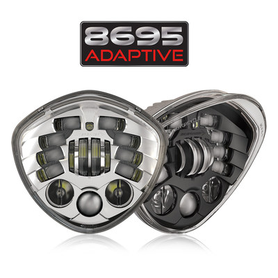 The Model 8695 Adaptive by J.W. Speaker Corporation is a dynamically adaptive LED headlight designed to fit Victory motorcycles, with their one-of-a-kind diamond shaped headlight, offering riders plug & play installation with their LED upgrade.