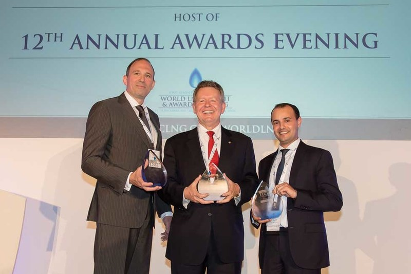 """Bechtel Vice Chairman Bill Dudley (center) named LNG Executive of the Year by CWC Group for his """"outstanding contribution to the development and future of the LNG industry in the past year."""""""