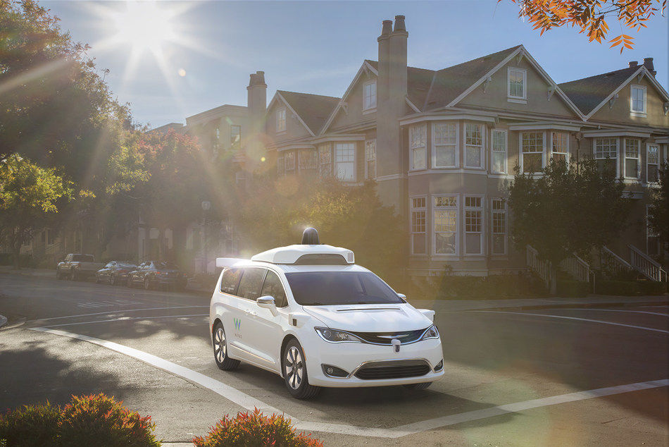 The 2017 Chrysler Pacific Hybrid minivan equipped with Waymo's fully self-driving technology