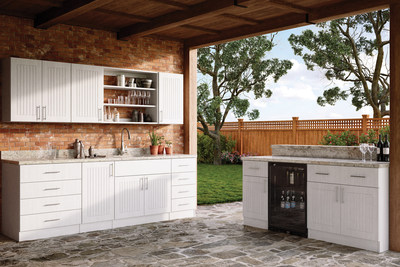 WeatherStrong Outdoor Cabinetry, shown in Naples Radiant White