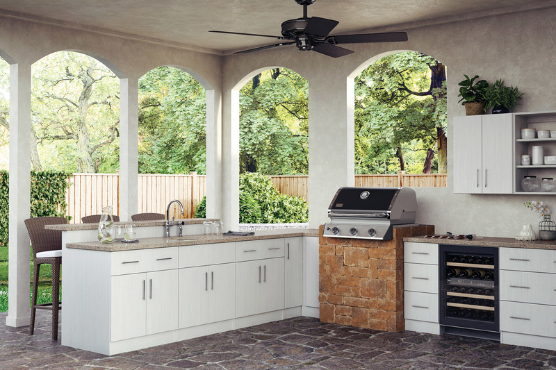 WeatherStrong Outdoor Cabinetry, shown in Madrid Radiant White