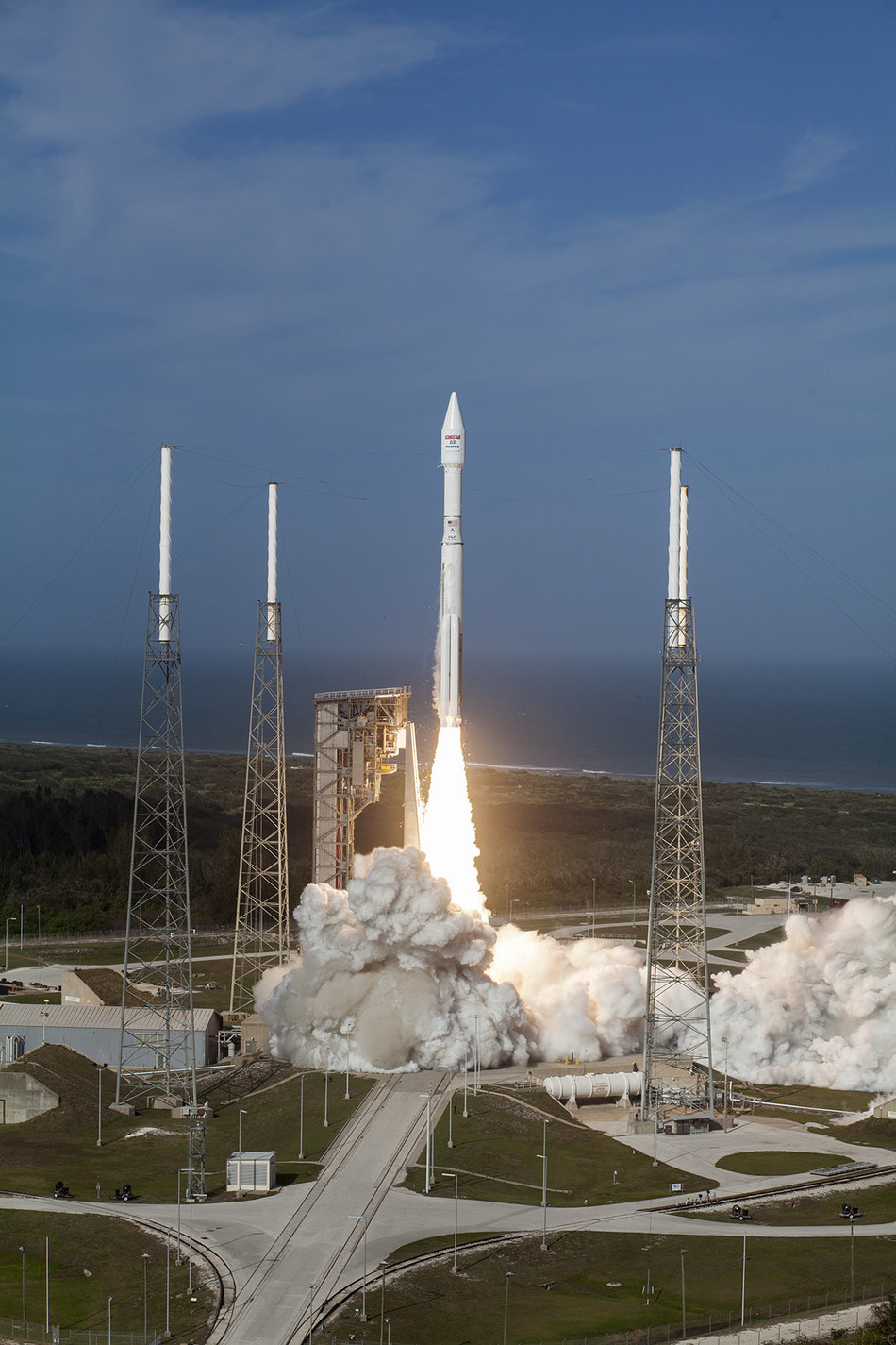 Lockheed Martin Commercial Launch Services launches EchoStar XIX aboard an Atlas V 431 rocket. The satellite will provide HughesNet Gen5 high-speed satellite Internet service to rural areas across North America. Photo courtesy of Lockheed Martin and United Launch Alliance.