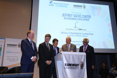 Prime Minister of Malaysia Dato' Sri Najib Tun Razak officiating the launch of the Jeffrey Sachs Center on Sustainable Development at Sunway University in Kuala Lumpur, flanked by Professor Jeffrey Sachs, Sunway Group founder and chairman and Jeffrey Cheah Foundation founding trustee Tan Sri Dr. Jeffrey Cheah (middle), Science Advisor to Prime Minister of Malaysia, Professor Tan Sri Zakri (first from right) and Sunway University vice chancellor Professor Graeme Wilkinson (first from left)