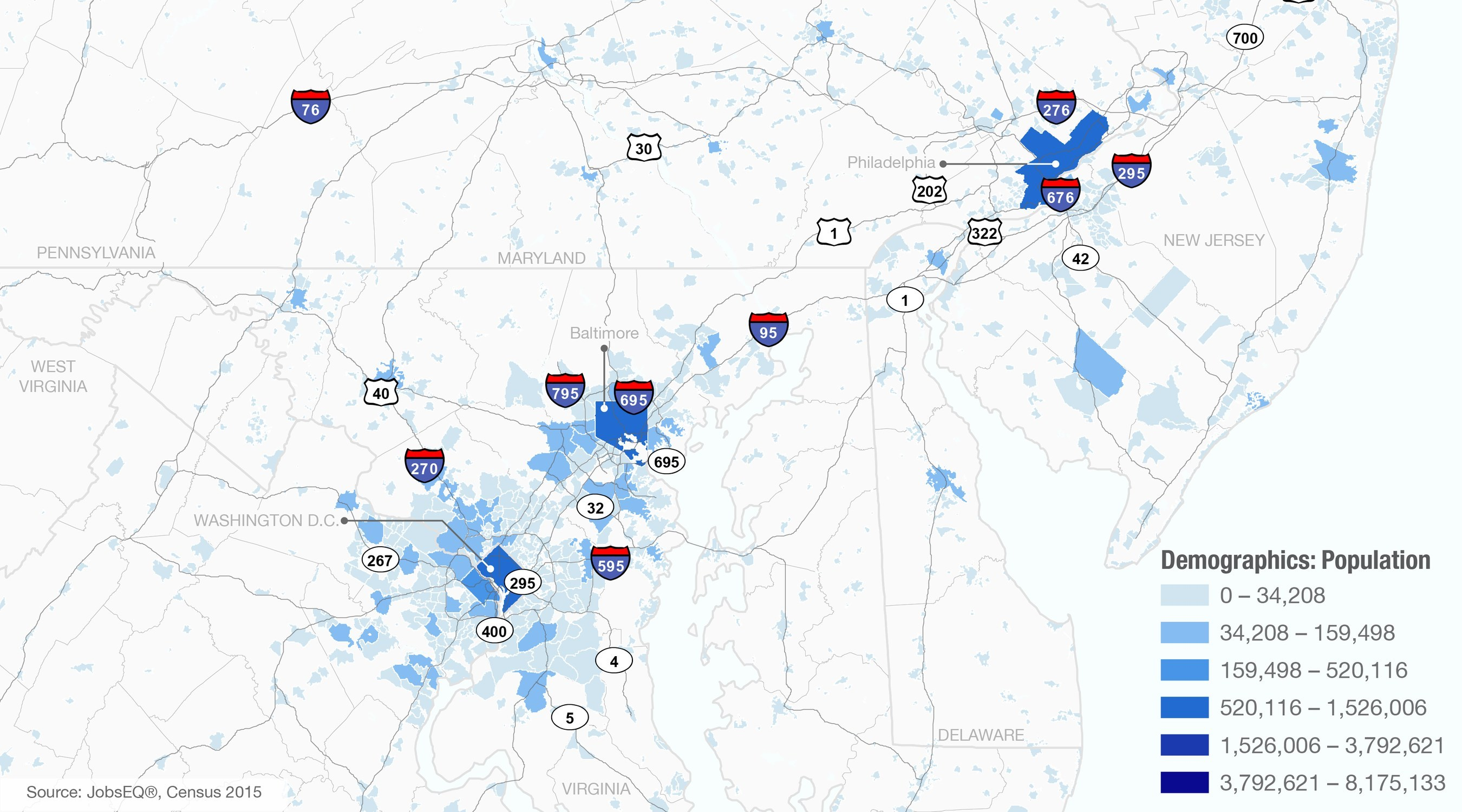 This map shows 2015 Census population figures for places (cities, towns, villages, etc.) in and around the Washington D.C.-Philadelphia corridor.