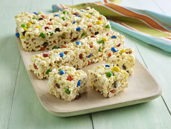 Marshmallow Popcorn Bars with Chocolate Candies Photo Courtesy of Orville Redenbacher