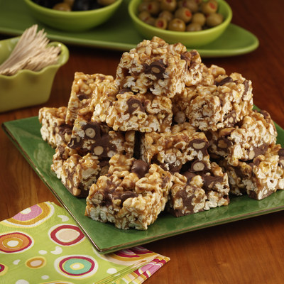 Crispy Peanut Butter Chocolate Popcorn Squares Photo Courtesy of Orville Redenbacher