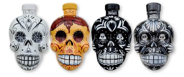 Stoli Group USA has added KAH(R) Tequila, which produces (L-R) Blanco, Reposado, Anejo, and Extra Anejo expressions, to its portfolio. Each is presented in its own uniquely decorated, spirited skull bottle.