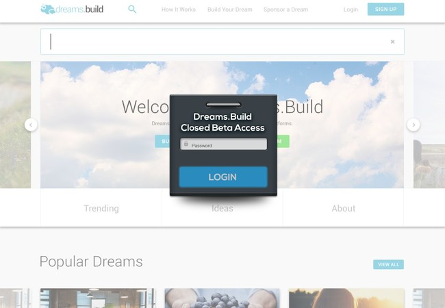Dreams.Build Closed Beta login screen