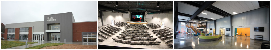 The new Grace Baptist Church student ministry center, designed by Studio Four Design and built by Merit Construction, features a 700 seat auditorium, a lobby with a cafe, a large game room, staff offices, meeting rooms and quiet spaces for studying and small group fellowship. Photos courtesy of Merit Construction.