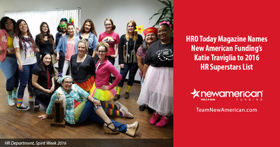 HRO Today Magazine names New American Funding's Katie Traviglia to 2016 HR Superstars List.