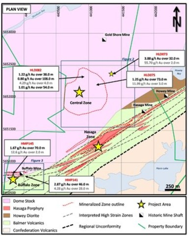 Figure 1: Plan view showing recent assay highlights on Hasaga Property (CNW Group/Premier Gold Mines Limited)