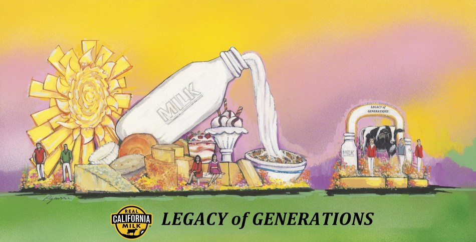 """Real California Milk """"Legacy of Generations"""" float pays homage to the success that comes from the knowledge passed from generation to generation and the essential partnership between the farmers, the land, the animals and their communities."""