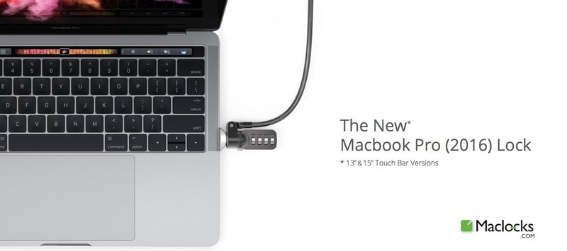 Maclocks' new custom lock slot for the New MacBook Pro with Touch Bar is the smallest lock that provides complete security yet requires no screws or adhesive and is compatible with any standard cable lock.