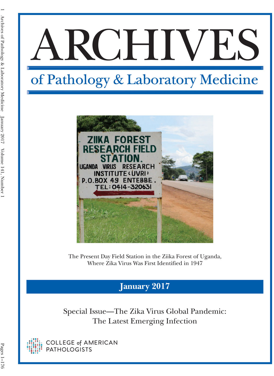 Cover of January 2017 Archives of Pathology & Laboratory Medicine, a special Zika virus issue.