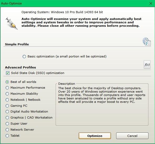 Cacheman Windows performance optimization profiles