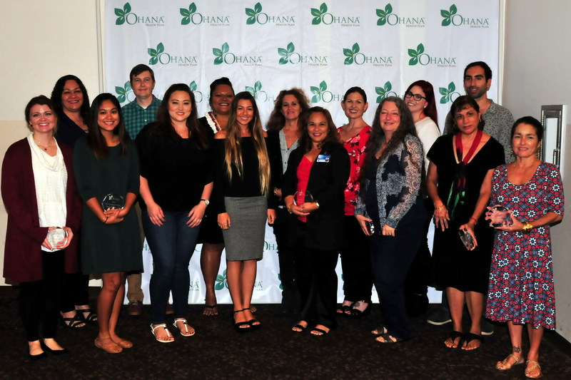 'Ohana Health Plan 2016 Outstanding CCS Case Managers, pictured from left to right: First row: Jessica Horton, Jacqueline Warlick, Alicia Fu, Keana Rees, Donna Keyes, Jeanne-Marie Long, Edith Blas, Elizabeth Gonzales Back row: Patricia Kaleiwahea, Thomas Robertson, Symphonie Cubit, Angelique Matutino, Monica Velasco, Chelsea Phillips, Dario Garcia.