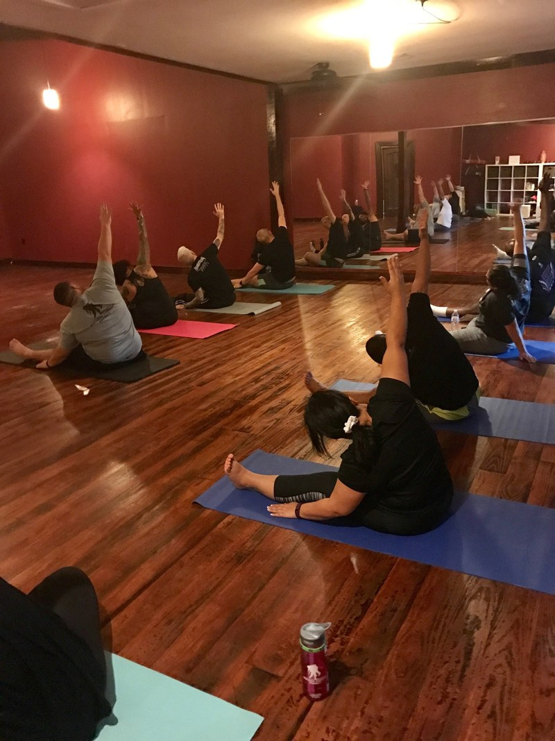As participants learned the fundamentals of yoga, they experienced the benefits of attending social events that get them out of the house and connected with fellow service members.