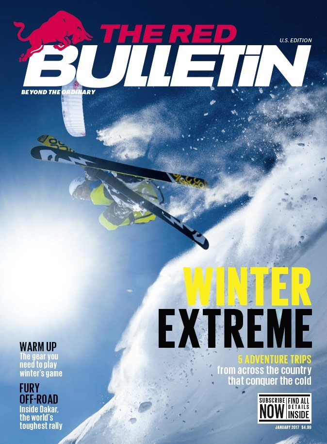 january issue of the red bulletin magazine features the most extreme winter sports locations in us. Black Bedroom Furniture Sets. Home Design Ideas
