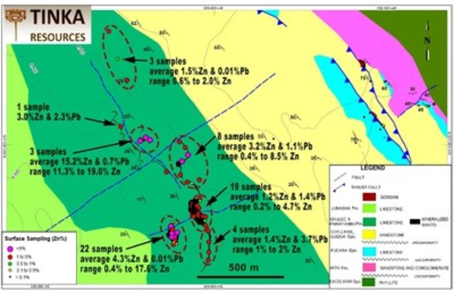 Figure 2.  Geological map of Pucarumi area highlighting recent rock sampling results for Zinc (CNW Group/Tinka Resources Limited)