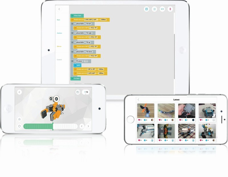 The kit includes the Jimu Robot app with step-by-step 3D instructions including zoom and 360 degree views to make building the robot easy. Once built, the app features pre-programmed actions with Blockly coding, or program your own actions (PRNewsFoto/UBTECH Robotics)